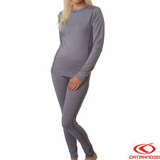 Womens Catmandoo Thermal Underwear Polyester Base Layer Set Grey - FREE DELIVERY