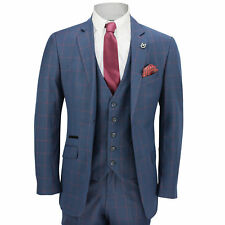 Mens 3 Piece Windowpane Red Check on Blue Vintage Tailored Fit Smart Formal Suit