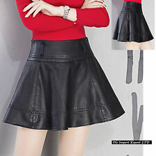 Mini Gonna Donna Vita Alta Similpelle High - Waist Mini Skirt PU Leather 130029