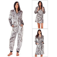 Loungeable Boutique Paisley Dressing Gowns Or Ladies Hooded All In One Sleepwear