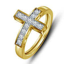 GORGEOUS LOOK! AMERICAN DIAMOND 18K GOLD PLATED .925 SILVER CROSS JEWELLERY RING