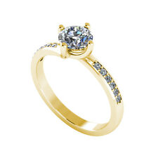.50ct Solitaire Round Cut Ring with Accents Certified Diamond 18ct Gold