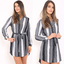 Womens Striped Long Sleeve Button Shirt Dress Belt Collar Blouse Xmas Party Top
