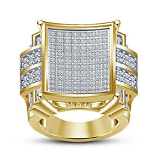 Women's 14K Yellow Gold Plated 925 Sterling Silver White RD CZ Fancy Ring
