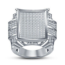 White Platinum Plated Sterling Silver RD White CZ Women's Anniversary Ring