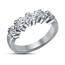White Platinum Plated 925 Sterling Silver White CZ Five Stone Flower Band Ring 6