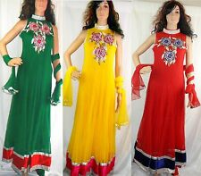 Indian Asian Anarkali Suit Dress For Wedding Party Georgette Stitched Size M