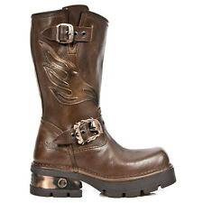 Bottes Homme New Rock M.1613-S1 Collection Motorcycle Cuir Vachette Marron