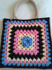 CHOICE OF 10 JUTE SHOPPING BAGS WITH HAND CROCHET FRONT PANEL - USEFUL XMAS GIFT