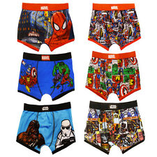 Official Licensed Childs Marvel Superhero Or Star Wars Pack Of 2 Kids Boxers