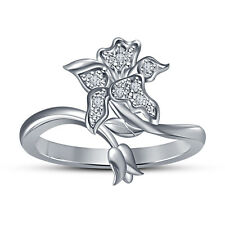White Platinum Plated 925 Sterling Silver Round Cut White CZ Flower Shape Ring