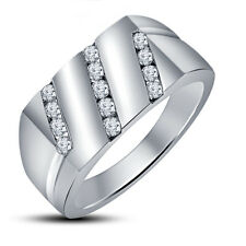 Stunning White Platinum Plated 925 Sterling Silver Men's Ring With White CZ