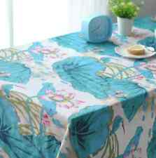 Chinese Lotus Home Dinning Coffee Table Cotton Linen Cloth Covering O