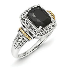 Onyx Infinity Ring .925 Sterling Silver & 14K Gold Accent Size 6-8 Shey Cou