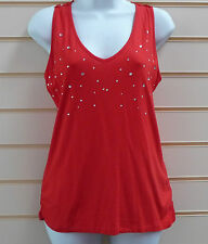 WOMENS  RED LACE BACK & DIAMANTE FRONT DETAIL PARTY TOP SIZE12 BNWT