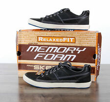 NIB Skechers Romelo Men Relaxed Fit Shoes 62885 Charcoal Leather Lace-up si