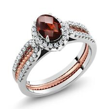 1.42 Ct Oval Garnet 925 Two-Tone Sterling Silver Wedding Band Insert Ring