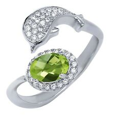 2.26 Ct Oval Checkerboard Green Peridot 925 Sterling Silver Dolphin Ring