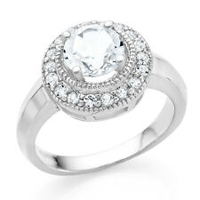 1.70 Carat tw White Topaz & White Sapphire Ring in Sterling Silver