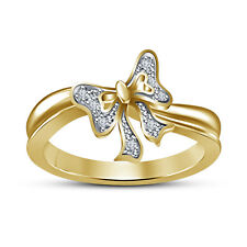 RD White Cubic Zirconia Ravishing Bow Ring 14K Gold Plated 925 Sterling Silver 7