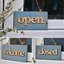 Wooden Board Plank Sign Plaque Cafe Window Decor Closed/Welcome/Open Sign