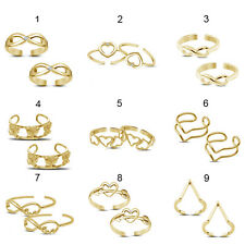 Indian Designer 14K Gold Polished 925 Silver 1 Pair of Toe Ring@Free Shipping