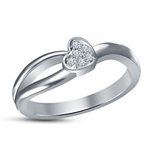 White Platinum Plated RD White Cubic Zirconia Lovely Small Heart Design Ring