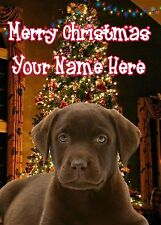 CHOCOLATE LABRADOR PUP CHRISTMAS CARD Personalised /& Illustrated inside too  A5