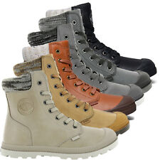 Palladium Womens Pampa Hi Knit Low Profile Shoe Leather Casual Design Ankle Boot