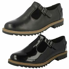 De Mujer Negro Tira central Buckle zapato By Clarks GRIFFIN MONTY