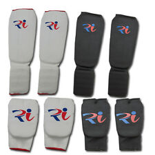 Muay Thai Elasticated shin instep Karate Mitts Martial Arts Kick Boxing Guard