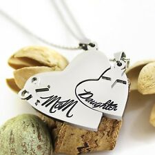 """Heart Necklace Set (2pcs) - Daughter Mother Necklaces Engraved with """"Mom"""" and """"D"""