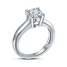 Elegant Design Solitaire Womens Ring 925 Silver White Platinum Over RD White CZ