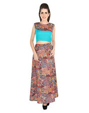 LEMON DESI Multicolor Cotton Party Sleeveless Western Wear Women Top & Skirt