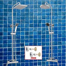 Round / Square Twin Dual Control Thermostatic Rain Shower Mixer Easy Fit Kit Set