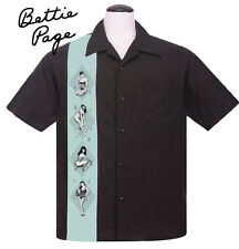 Steady BETTIE PAGE PIN UP PANEL Rockabilly Bowling Shirt - Black -Size S - 3XL