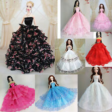 Handmade Wedding Gown Dresses Girl Party For Princess Barbie Doll