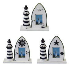Mediterranean Solid Wood Frame Handmade Room Lighthouse Photo Frame 3 Patterns