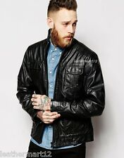 ADARGA 100% Genuine Lambskin Leather Jacket Designer Quilted Biker Blazer Men's