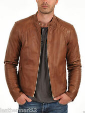 ADARGA 100% Genuine Lambskin Leather Jacket Designer Racer Biker Blazer Men's