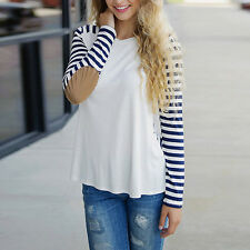 Fashion Round Neck Striped Long Sleeve T-Shirt Elbow Patch Tops for Women