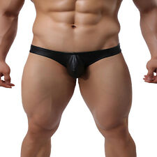Sexy Mens Imitation Leather Mesh Underwear T-back G-string Thongs Briefs Shorts