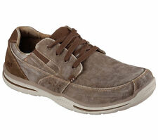 64677 Brown Cocoa Skechers Shoes Mens Memory Casual Dressy Canvas Slip On L