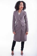 Womens Stylish Long Double Breasted Coat Ladies Winter Lined Woven Jacket