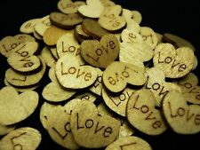 GOLD LOVE HEART TABLE DECORATION WOODEN RUSTIC WEDDING VINTAGE FAVOURS CONFETTI