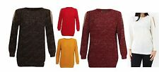 Ladies Lurex Cut Out Detail Off Shoulder Jumper Shiny Knitted Sleeve Glitter Top