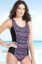 M&S Black Pink Blue & Purple Stripe Bust/Tummy Control Swimsuit  Sz UK 8