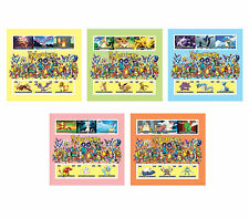 POKEMON Go 2015 new Stamps 6 Value perf or imperf 5in1 Sheetlets MINT NH UKpost