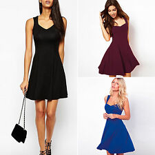 Womens Sleeveless Dresses Party Evening Cocktail Mini Summer Beach Skater Dress