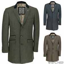 Mens Long Coat Wool Mix Herringbone Tweed Vintage Trench Overcoat Winter Jacket